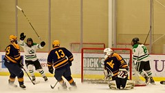 quick pass and finish... (R.A. Killmer) Tags: white green college ice hockey club goal team shoot fast skate stick puck score celebrate sru