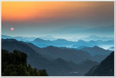 SUNRISE (canon-Tom) Tags: morning sunset sky cloud sun sunlight mountain mountains nature fog clouds sunrise canon landscape taiwan taipei daybreak