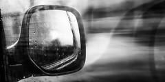 ... don't look back ... (Fede Falces ( ...... )) Tags: auto blackandwhite bw blur car rain dof noiretblanc fuzzy depthoffield motionblur