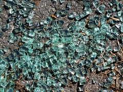 Break-in (Claire Wroe) Tags: road city broken glass car square manchester smash break turquoise centre crime vehicle windscreen