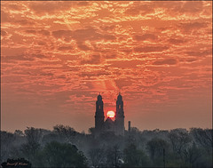Smokin' (danielgweidner) Tags: sky architecture clouds sunrise landscape nebraska cathedral smoke omaha nik s120 nikdefine nikcolorefx viveza2