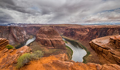 Horseshoe Bend (Kevin Povenz) Tags: arizona water rain weather rock landscape may overcast canyon rainy page horseshoecanyon overlook horseshowbend 2015 sigma1020 canon60d kevinpovenz