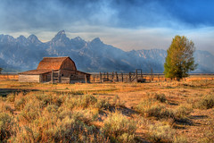 Moulton Barn and Smoky Sky (HollidayPhotography) Tags: ranch mountains fall barn rockies farm smoke rick jackson tetons 2009 grandteton moultonbarn rickholliday wwwrickhollidaycom