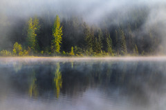 Morning Serenade (Mark Metternich) Tags: morning mountain lake reflection fog oregon reflections pacific northwest foggy surreal dreamy sublime atmospheric subtle