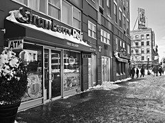 Strawberry Deli - 14th Street (corchplow) Tags: newyorkcity winter snow newyork cold coffee store unitedstates bean blizzard tealeaf