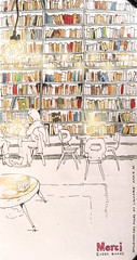 Paris_Used books Café (Merci) (velt.mathieu) Tags: paris café watercolor sketch interior coffeeshop croquis