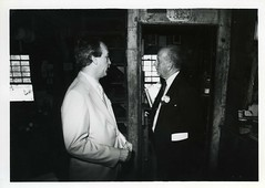 Maryland Governor William Donald Schaefer visits Wye Mill, 1988 (presmd) Tags: people buildings us blackwhite maryland mills 1980s governors restorations wyemills wyemill talbotcountymd