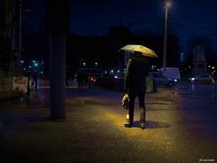 Another rainy morning II (Ren Mollet) Tags: street morning man rain night umbrella lumix nightshot earlymorning streetphotography basel mm 35 renmollet