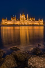 The Parliament at blue hour (Vagelis Pikoulas) Tags: city winter building rock architecture canon river landscape rocks europe hungary cityscape capital budapest central january parliament tokina 6d 2016 1628mm