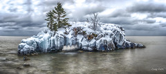Hollow Rock Panorama (Lake Vermilion1) Tags: blue winter sky white lake snow cold reflection tree ice water minnesota rock clouds island nikon long exposure hole north superior grand arches panoramic shore icicle portage lakesuperior hollow formations tombolo grandportage hollowrock d810 borderfx lakevermilionphotos
