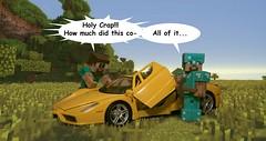 Minecraft Shenanigans (RaidenPhotos.com) Tags: car toy toys photography funny steve ferrari jokes macrophotography minifigures minecraft