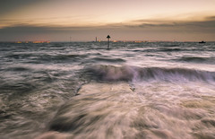 High Tide Waves (scott.hammond34) Tags: uk sunset sky seascape texture water clouds landscape bay coast movement waves outdoor sigma thorpe groyne essex southend hightide breakwater canon6d