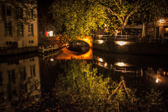 Les profondeurs du canal... (Gilderic Photography) Tags: reflection tree water mystery night canon lights canal belgium belgique belgie brugge reflet lovecraft bruges nuit arbre 500d gilderic