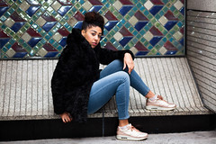 Amber Full Length 1 (gguyphotography) Tags: uk shadow portrait white black london girl canon photography sitting mosaic fulllength streetphotography naturallight location photograph editorial blackfriars earrings seated canon5dmkii