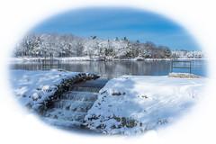 WINTER OVERFLOW (jlucierphoto) Tags: winter snow water pond stream massachusetts parks falls whitebackground round wonderland brockton lovelyflickr