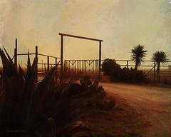 Foggy Frio Sunrise (peppermcc) Tags: texture sunrise fence gate texas fences hillcountry frio melissagallo