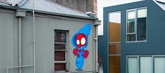 roof spider (tb_frbnk) Tags: streetart graffiti spiderman urbanart caper melbournegraffiti melbournestreetart capererg allthoseshapes roofspider