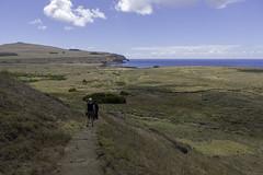 Tongariki from Rano Raraku (blueheronco) Tags: trail pacificocean moai easterisland rapanui isladepascua ahu ahutongariki tongariki ranoraraku poike hotuiti rapanuinationalpark motumarotiri hutuitibay