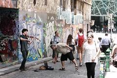 Musician in Hosier Lane SOOC (rosewoodoil) Tags: street travel people musician graffiti australia melbourne victoria violin lane rue streetentertainer hosierlane photographedublin strrada