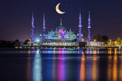 Crystal mosque in Kuala Terengganu, Malaysia (anekphoto) Tags: city sky moon building tourism architecture night landscape asian religious gold dawn star scenery worship asia day symbol god crystal space muslim islam famous faith prayer religion pray culture peaceful places landmark palace mosque malaysia dome oriental spiritual copy ramadhan masjid attraction terengganu islamic