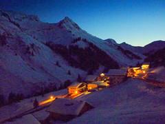 beginning of the night (hatschiputh) Tags: snow mountains night austria nightshot bregenzerwald damls