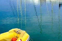 porto (enemene67) Tags: blue verde green water colors yellow boats open commerciale rubber barche boa giallo porto colori riflessi marino dinghy adriatico mirroring refelections turistico gommone rubberdinghy allaperto galleggiante realtriflessa nikond5200