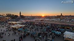 Sunset above Djemaa el Fna (dieLeuchtturms) Tags: morocco maroc marrakech medina afrika marrakesh marokko jemaaelfna 16x9 marrakesch djemaaelfna djemaaelfnaa marrakechtensiftalhaouz platzdergehngten