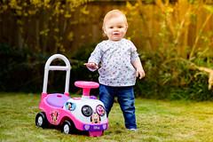 Amelia and her ride on (T_J_G) Tags: camera colour field garden toy spring haze nikon bright flash daughter 85mm vivid off ocf d750 depth nikonian grasss 18g strobist