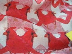 Anniedeb's 'Flocks of Cardinals': close up of yardage in Cotton Lawn Ultra (Su_G) Tags: bird closeup cardinal reds pinks yardage spoonflower anniedeb cottonlawnultra flocksofcardinals