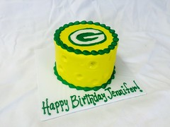 Packers Birthday Cake (tasteoflovebakery) Tags: birthday game green sports yellow cake cheese gold bay football day head go packers pack greenbay cheesehead