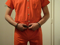 Rainer in jumpsuit and restraints (rainerzufall1234) Tags: shackles handcuffs prisoner jumpsuit inmate restraints handcuffed bellychain