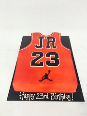 Basketball Jersey Birthday Cake (tasteoflovebakery) Tags: birthday red basketball cake air jordan jersey