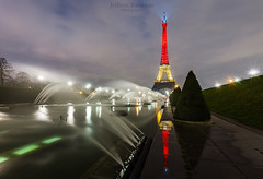 Pray for Brussels - Tricolor Eiffel Tower (Valkarth) Tags: red black paris tower yellow night jaune rouge noche noir tour eiffeltower eiffel toureiffel tricolor nuit prayforparis prayforbrussels