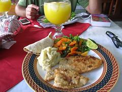 """Flores: filet de poisson , purée et orangeade (du jus d'orange et de l'eau) <a style=""""margin-left:10px; font-size:0.8em;"""" href=""""http://www.flickr.com/photos/127723101@N04/25968077530/"""" target=""""_blank"""">@flickr</a>"""