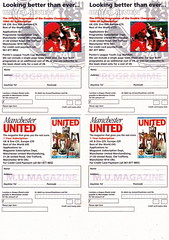 Manchester United - Official Merchandise Catalogue - 1994 - Inset Page 4 (The Sky Strikers) Tags: old red classic manchester souvenirs official united fred merchandise 1994 collectors trafford catalogue the leisurewear