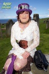 IMG_9406 (Neil Keogh Photography) Tags: brown white church abbey graveyard hat female silver bag dress purple boots top gothic goth victorian blouse tophat earrings collar gravestones whitbyabbey whitbygothweekend april2016