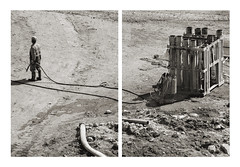 Ivory (Goran Patlejch) Tags: man building one construction sand shadows mud tubes hose works worker