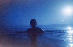 (ystein Aspelund) Tags: travel blue sunset summer lake color film swimming 35mm roadtrip silouette macedonia ohrid expired freshwater balkan balkanstyle