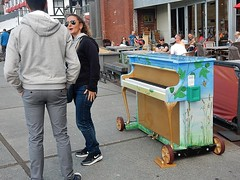 Piano Talk (mikecogh) Tags: friends public sunglasses painted wheels piano wellington conversation