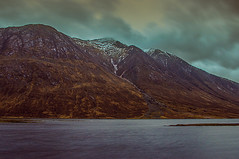 Loch Etive Early Winter Evening (Brian Travelling) Tags: sky mountain snow mountains green water clouds landscape grey scotland highlands high scenery peace emotion pentax air scenic calming scottish peaceful calm fresh highland serenity serene peaks emotional rugged scent glenetive evocative lochetive pentaxkr
