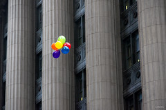 Float Away (Andy Marfia) Tags: chicago building architecture balloons loop cityhall columns floating f8 iso1400 1250sec d7100 1685mm