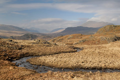 Scafell from Low Birker Pool (Nick Landells) Tags: spring stream beck sunny scafell winding eskdale snaking eskdalefell visipix lowbirkerpool