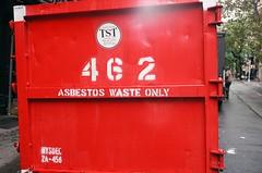 Ah good (Patrick Copley) Tags: nyc red newyork film dumpster 35mm waste toxicwaste asbestos rollei35 fujic200