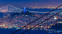 Blue Coit Tower (davidyuweb) Tags: bridge blue light tower colors night golden bay gate san francisco landmarks coit sfist luckysnapshot