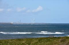 Two wind turbines from Seaton Sluice (DavidWF2009) Tags: sea sky northumberland windturbines seatonsluice