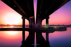 Raavi (Fortunes2011. Re start) Tags: bridge sunset sun reflection water lines ravi pillars lahore fortunes2011nikon