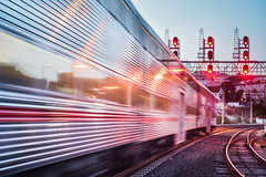 he's watching her go (pbo31) Tags: sanfrancisco california city red motion color reflection station train evening caltrain spring nikon track rail motionblur bayarea april commuter bayshore 2016 lightstream boury pbo31 d810
