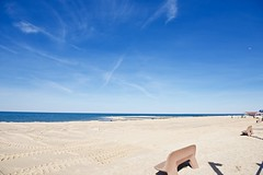 Happy bench Monday! (ineedathis, Keep on Ticking!) Tags: sea people moon newyork seascape beach water clouds bench sand huntington bluesky longisland tiretracks northport hbm crabmeadow nikond750