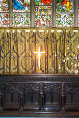 Light on the cross! (swordscookie back and trying to catch up!) Tags: ireland galway window sunshine easter table stainedglass screen altar curtains carvings burningcross stnicholascollegiatechurch