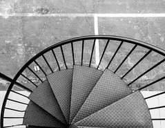 Looking Down At the Asphalt (that_damn_duck) Tags: southcarolina unitedstates stairwell bw blackwhite nikon
